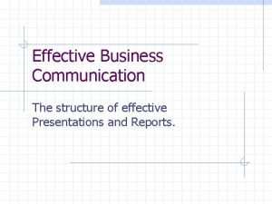 Effective Business Communication The structure of effective Presentations