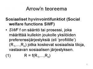 Arrown teoreema Sosiaaliset hyvinvointifunktiot Social welfare functions SWF