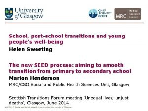School postschool transitions and young peoples wellbeing Helen