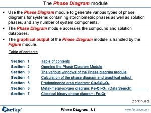 The Phase Diagram module Use the Phase Diagram