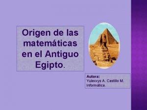 Origen de las matemticas en el Antiguo Egipto