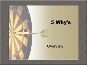 5 Whys Overview Presented by Javier Bustamante Objective