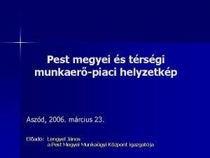 Pest megyei s trsgi munkaerpiaci helyzetkp Aszd 2006