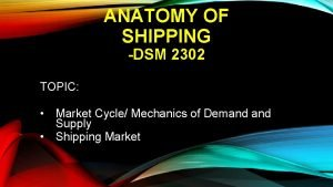 ANATOMY OF SHIPPING DSM 2302 TOPIC Market Cycle