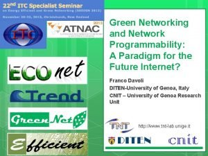 Green Networking and Network Programmability A Paradigm for