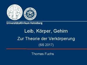 Leib Krper Gehirn Zur Theorie der Verkrperung SS