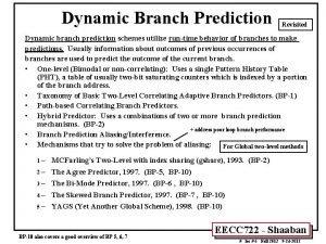 Dynamic Branch Prediction Revisited Dynamic branch prediction schemes
