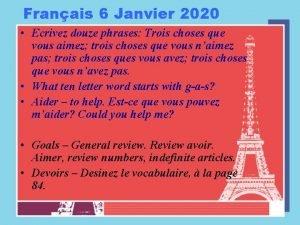 Franais 6 Janvier 2020 Ecrivez douze phrases Trois