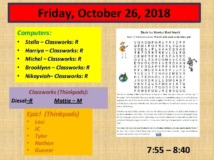 Friday October 26 2018 Computers Stella Classworks R