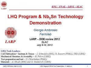 BNL FNAL LBNL SLAC LHQ Program Nb 3