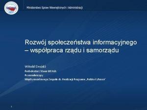 Rozwj spoeczestwa informacyjnego wsppraca rzdu i samorzdu Witold