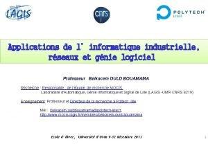 Applications de linformatique industrielle rseaux et gnie logiciel