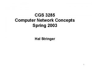 CGS 3285 Computer Network Concepts Spring 2003 Hal