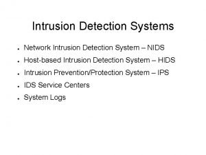 Intrusion Detection Systems Network Intrusion Detection System NIDS