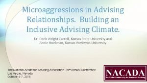 Microaggressions in Advising Relationships Building an Inclusive Advising