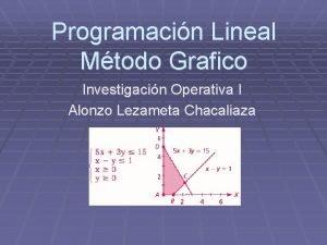 Programacin Lineal Mtodo Grafico Investigacin Operativa I Alonzo