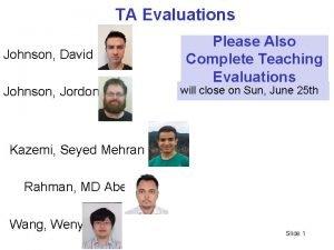 TA Evaluations Johnson David Johnson Jordon Please Also