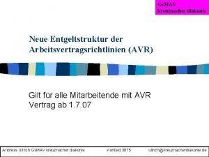 Gs MAV kreuznacher diakonie Neue Entgeltstruktur der Arbeitsvertragsrichtlinien