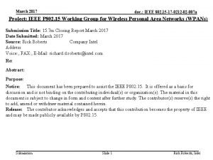 March 2017 doc IEEE 802 15 17 0212