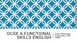 GCSE FUNCTIONAL SKILLS ENGLISH GCSE Steph Eldridge Functional