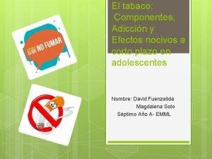 El tabaco Componentes Adiccin y Efectos nocivos a