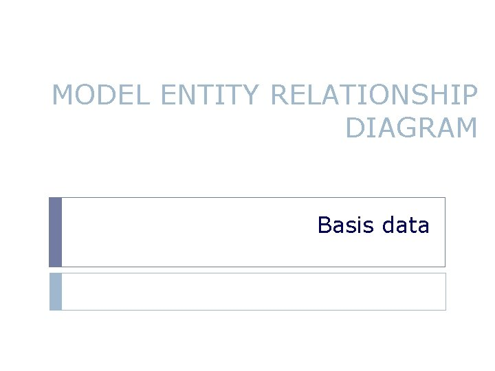 MODEL ENTITY RELATIONSHIP DIAGRAM Basis data TIU Mahasiswa