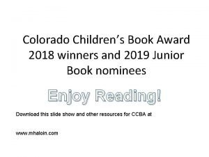 Colorado Childrens Book Award 2018 winners and 2019