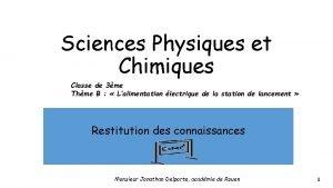 Sciences Physiques et Chimiques Classe de 3me Thme