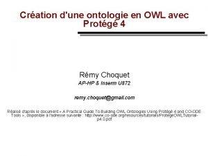 Cration dune ontologie en OWL avec Protg 4
