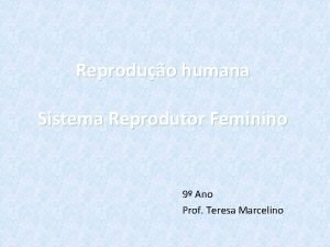 Reproduo humana Sistema Reprodutor Feminino 9 Ano Prof
