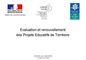 PRFET DE LA HAUTEGARONNE Evaluation et renouvellement des