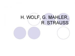 H WOLF G MAHLER R STRAUSS HUGO WOLF