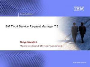 Tivoli Software IBM Tivoli Service Request Manager 7