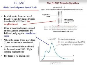BLAST Basic Local Alignment Search Tool In addition