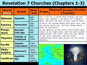 Revelation 7 Churches Chapters 1 3 Church select