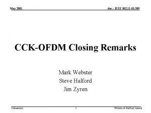 May 2001 doc IEEE 802 11 01309 CCKOFDM