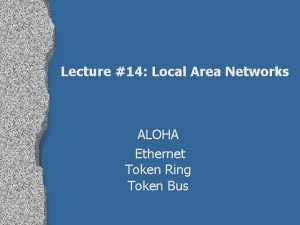 Lecture 14 Local Area Networks ALOHA Ethernet Token