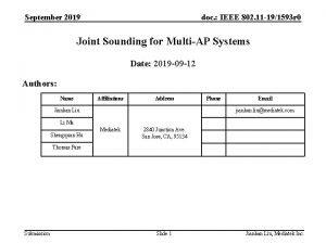 September 2019 doc IEEE 802 11 191593 r