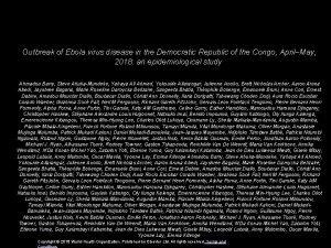 Outbreak of Ebola virus disease in the Democratic