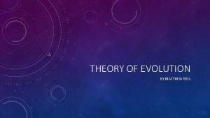 THEORY OF EVOLUTION BY MATTHEW BELL CHARLES DARWIN