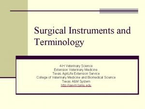Surgical Instruments and Terminology 4 H Veterinary Science