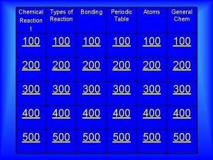 Chemical Reaction 1 Types of Reaction Bonding Periodic