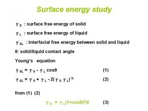 Surface energy study S surface free energy of