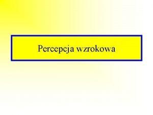 Percepcja wzrokowa Percepcja wzrokowa jest zdolnoci do rozpoznawania