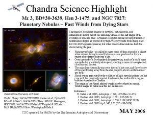 Chandra Science Highlight Mz 3 BD30 3639 Hen