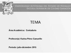 TEMA rea Acadmica Contadura Profesora Karina Prez Camarillo
