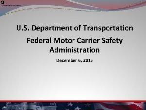 U S Department of Transportation Federal Motor Carrier