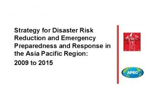 Strategy for Disaster Risk Reduction and Emergency Preparedness