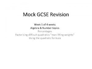 Mock GCSE Revision Week 1 of 4 weeks