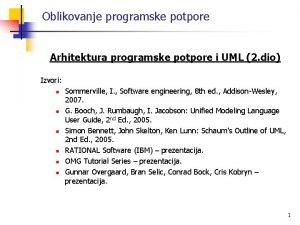 Oblikovanje programske potpore Arhitektura programske potpore i UML